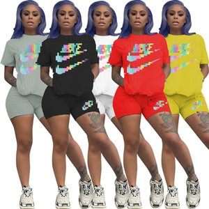 Women Designer Clothes Brand Womens Sports Suit Sportswear 2 PCS Sets Of Jogging Suits T-shirt Shorts Sportswear Summer S-XXL