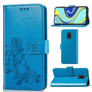 Case Cover Handphone skinfor Xiaomi redmi cuoio della nota 9 Pro dell'unità di elaborazione con supporto del raccoglitore della carta in rilievo fortunato dei quattro fogli del modello (nota 9 Pro)