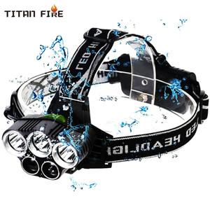 uso USB ricaricabile proiettori a LED 3 bianco + 2 bule chiaro impermeabile pesca del LED della lampada del faro 18650