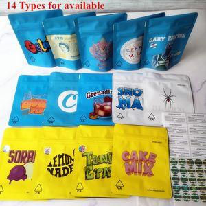 New Arrival 14 tipos COOKIES California SF 3.5 g Mylar Bags Snowman Blanco Lemonnade Cake mix Snowman Cookies Bag 1/8 Bag