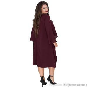 Diseñador 6xl verano de las mujeres de moda Crew Neck Dress Ashymmetrical Batwing Ropa de poliéster gasa floja ocasional prendas de vestir