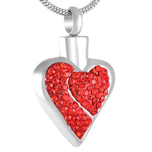 Z232 Heart shapeCrystal cremation memorial jewelry Elegant Women's Cremation necklace with red crystal inlay for lover's ash