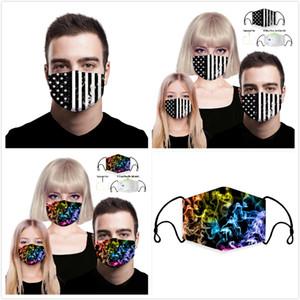 Máscaras de impresión digital 3D de la manera orejas colgantes PM2.5 filtro reemplazable máscaras de protección a prueba de polvo máscara anti-Haze transpirable Niños Adultos