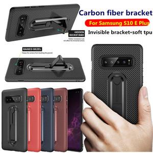 TPU Karbon Fiber Zırh Vaka IPhone XR XS MAX 8 Samsung S10E Artı A9 2018 J4 J2 Çekirdeği J7 DUO J6 Sağlam Anti Şok Görünmez Braketi Kapak