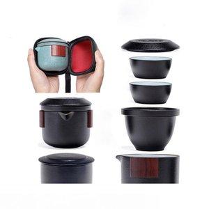 Keramik Teekanne Gaiwan Teetasse Porzellan Gaiwan Teegeschirr tragbare Reise Tee-Sets Trinkgefäße Teaware Set 2styles