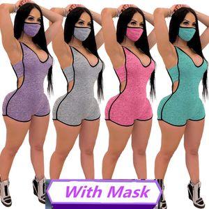 Kadınlar Hood Tulumlar Maske Hood Kolsuz Derin V Yaka Çizgili En Kısa Pantolon Bodysuits Skinny Kapşonlu Açık Giyim