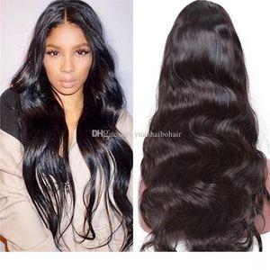 Volle Spitze Perücken Stocking Menschenhaar Perücken Natürliche Farbe Virgin Europäische Haar-Körper-Wellen-Spitze-Front Kostenloser Versand Perücken
