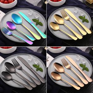 4pcs / set couverts en acier inoxydable ensembles 6 couleurs dîner cuillère fourchette couteau cuillère à café en gros couverts vaisselle ensemble