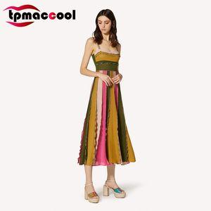 Tpmaccool luxury designer women vintage HIGH END Summer New Bright Rainbow color Fairy Dress Slimming трикотажные ретро платья