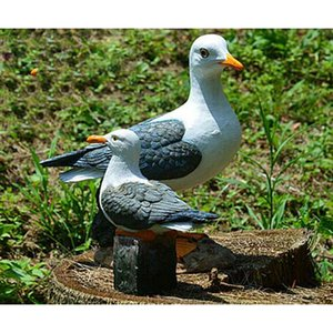 2 x Resin Craft Seagull Birds on Plinth Sculpture for Nautical Themed Room Ornament 20 x 9 x 20 cm