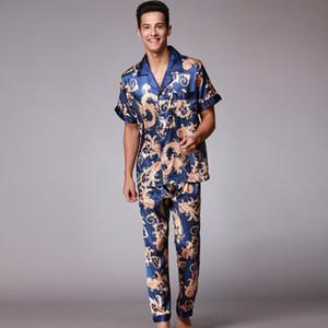 Ssh021 Outono Verão Loungewear Mangas Curtas Calças Compridas Pijama Set Homens Impresso Cetim De Seda Pijama Pijamas Masculinos Pijama Pijamas J190613