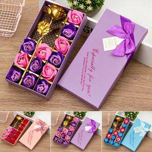 Мыло Цветок Подарочная коробка с коробкой Любовь Романтический годовщины Girlfriend день Ароматные Искусственная роза украшение подарка Валентина