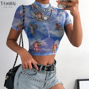 Fashion Fish Net T Shirt Daily Mesh Perspective Crew Neck Crop Sexy Summer Slim Short Sleeve Women Tops Party