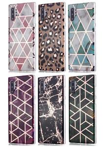 cassa della pelle geometrica TPU placcatura cromata in marmo per Samsung A10 A20 A30 A40 A50 A70 A51 A71 A20E A10S A20S note10 PLUS S8 S9 PLUS