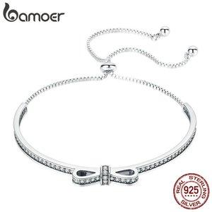 Bamoer di alta qualità 925 sterling silver bowknot cancella cubica zircone braccialetti bracciali per le donne gioielli in argento sterling Scb108 Y19051403