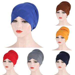 Müslüman Kadınlar İpeksi Çapraz Pamuk İpeksi Sünger Turban Şapka Kanser Kemoterapi kasketleri Cap Şapkalar Wrap Kaplama Saç Aksesuarları