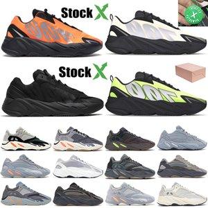 700 Kanye 3M Yansıtıcı Portakal Kemik Fosfor Runner Erkekler Kadınlar Sneakers hastane Karbon mavi Katı Gri atalet Tasarımcı Koşu Ayakkabı spor