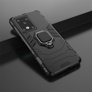 Shockproof Armor Case for Samsung Galaxy S20 Plus S10 S9 S8 Plus Note 10 Lite Stand Holder Car Ring Silicone Phone Back Cover