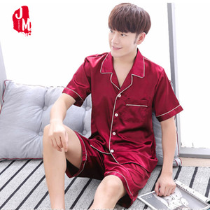 Estate Uomini raso Pajama Set Set Breve Pigiami Uomo pigiama di seta Sleepwear Men Suit Solid pigiama maschio di seta corta