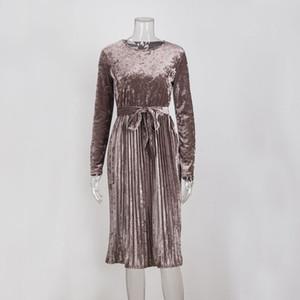 Susi et Rita Vintage À Manches Longues Robe De Velours Femmes Moulante ceinturée Midi Robe Printemps plissée Partie Robes Robes Robe Femme