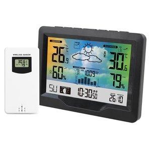 FanJu Tabela Relógio Digital Alarme Assista Calendário Temperatura medidor de umidade sem fios Wall Sensor Chaves eletrônicas Clocks