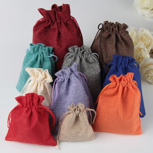 50pcs / pack (15x20cm) Vintage Natural Burlap Gift Candy Bag Wedding Party Favor Pouch Birthday Supplies Drawstrings Yute Gift Bag