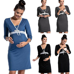 Hecho en mujeres embarazadas China US Nursing 3/4 Ropa Embarazo manga vestir pijamas de maternidad