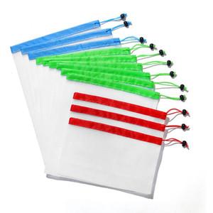 Reutilizável malha produzir sacos 12pcs / set Washable amigáveis de Eco Sacos para compras na mercearia de armazenamento Fruit Vegetable Bag OOA7417-7