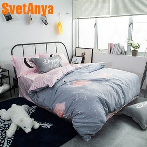 Cartoon Lovely Flamingo Gray Bedding Sets Queen Full Double Twin Size New Cotton Bedlinens Duvet Cover Sheet Pillow Cases