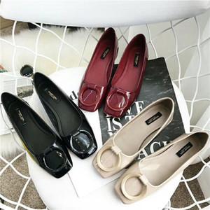 Hot Sale-2019 Boca Shallow Square Flat Bottom Single Woman Round Buckle Con Ocio Zapatos de mujer de cuero suave abuela cómoda