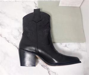 Горячие продажи-дизайнерские туфли женщины моды сапоги из телячьей Вышитые лодыжки загрузки Кожа Western Cowboy Ботильоны женские Сапоги зимние
