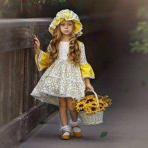 EACHIN niñas vestidos de moda floral de los niños impresión del estilo de país princesa del vestido de la llamarada mangas casuales para bebés Ropa, vestido de cumpleaños