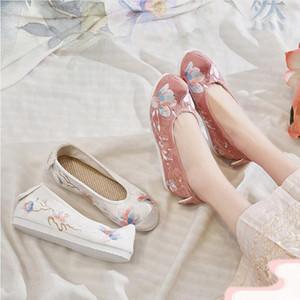 Древнекитайской платье лук обувь Китай национальный ретро стиль Мульти Layers вышивка ткань обувь женщины низкие каблуки обувь Hanfu в