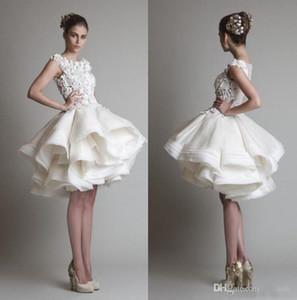 2020 vestidos de boda escarpado de la manga casquillo de encaje Krikor Jabotian corto con pliegues Volantes ilusión Volver longitud de la rodilla una línea de playa barato vestidos de novia