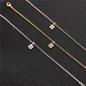 30 isim Karma etiket kolye Basit İlk İşaret kolye Kadınlar için Trendy Sembol # Salkım Tipografi Mektubu alfabe