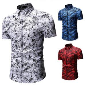 Zacoo verano de los hombres de manga corta de moda casual camisa Impreso