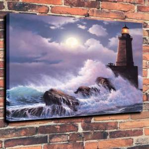 Sea Leuchtturm Waves Wohnkultur Handwerk / HD-Druck-Ölgemälde auf Leinwand-Wand-Kunst Leinwandbildern 191103