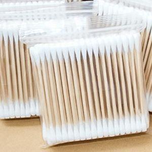 100 шт. / пакет двойной головкой ватный тампон женщины макияж ватные палочки наконечник для деревянных палочек нос уши очистки здоровья инструменты XD23283