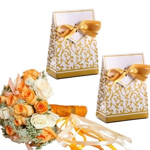 100Pcs Wedding Favour Candy Boxes Bags with Ribbon Sweet Cake Gift Party Decoration