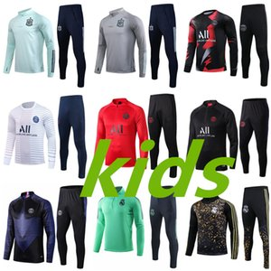 Paris Kids Soccer Tracksuit Kit Real Madrid Enfant 2020 2019 Spain Training Suit air Jordam tracksuits om survetement child Football