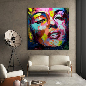 vA. Francoise Nielly Marilyn Monroe Palette knife High Quality Handmade Abstract portrait Wall Art Oil Painting On Canvas Home Office Deco