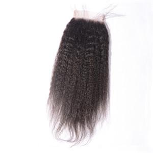 İyi Kinky Düz Dantel Closures Bakire İnsan Saç 4X4 Üst Kapaklar Piese Dokuma Serbest Bölüm Doğal Saç Çizgisi Angelawigs