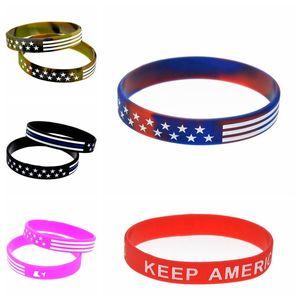 2020 Trump Silicone Bracelet Keep America Great Trump Campaign Bracelet Stars and Stripes Camo American Fashion Wristband IIA236