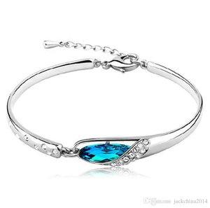 Choucong Marque originale Desgin Mignon luxe Bijoux argent 925 Rempli Superbe cristal bleu Parti chaîne de mariage Bracelet cadeau