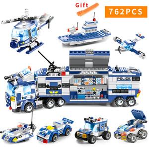 762 pcs Cidade Polícia Série Swat 8 Em 1 Cidade Polícia Truck Station Legoes Compatíveis Blocos de Construção Pequenos Tijolos de Brinquedo Para ChildrenMX190820