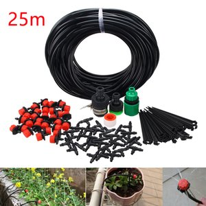 25m Micro Drip Irrigation System Plant Self Watering Garden Hose Kit Dripper Automatic Watering System Kits Spray Cooling System T200530