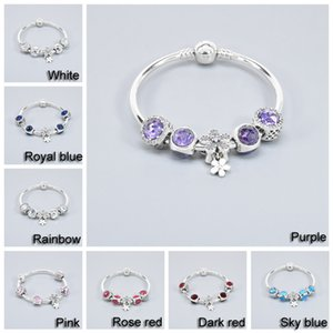 Classic Women Gift Blue Beaded Bracelet 8 Colors Fashion Female Elegant Beaded Bracelet Crystal Rhinestone Beads Bracelets DH1074-2 T03