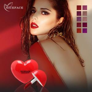 NICEFACE 10 colores Mini Amor Líquido lápiz labial rojo mate sedoso Gloss Lip Gloss barras de labios taza resistente al agua que no se pegue