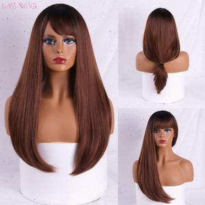 MISS WIG Wavy Perruques Noir Brun Blond Moyen partie cosplay perruques synthétiques avec une frange pour les femmes Cheveux longs faux cheveux
