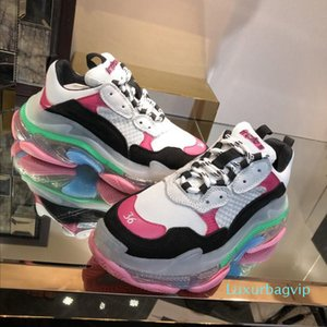 2019 Homens Mulheres moda Designer Shoe Casual Sneakers Almofada Triple S 3.0 Combinação de nitrogênio sola de cristal inferior Dad Shoe Casual Snean1